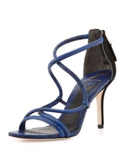 Estefania Snakeskin Embossed Leather Sandal, Dark Blue