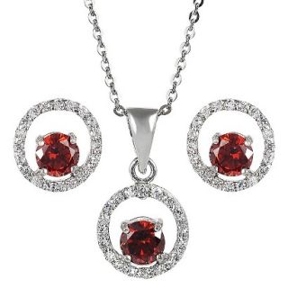 Sterling Silver Cubic Zirconia Jewelry Set   Red