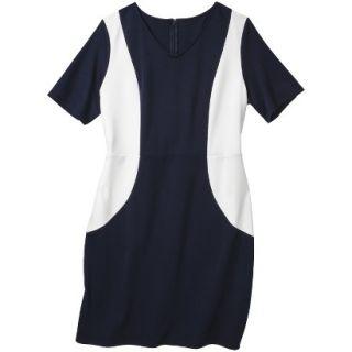 Merona Womens Plus Size V Neck Colorblock Ponte Dress   Navy/Cream 4