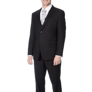 Caravelli Mens Slim Fit Black Vested Suit