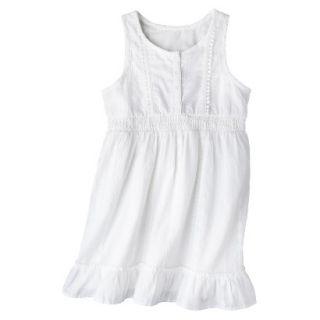 Girls Sleeveless Button Front Shirt Dress   Fresh White L