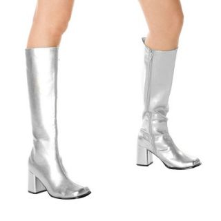 Silver Gogo Boots Adult   10.0