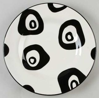 Tabletops Unlimited Panda Eyes Dinner Plate, Fine China Dinnerware   White & Bla