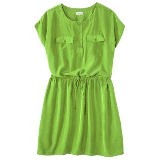 Merona Womens Plus Size Short Sleeve Tie Waist Dress   Green 2