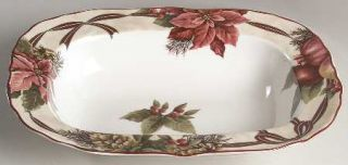 222 Fifth (PTS) Yuletide Celebration 11 Oval Vegetable Bowl, Fine China Dinnerw