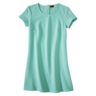Merona Womens Textured Cap Sleeve Shift Dress   Sunglow Green   L