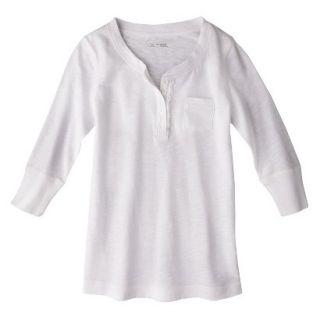 Cherokee Girls 3/4 Sleeve Shirt   Fresh White XS