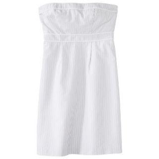 Merona Womens Seersucker Strapless Dress   Grey/White   4