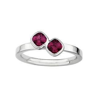 Sterling Silver Genuine Garnet Cushion Cut Ring, Red, Womens