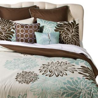 Anya 8 Piece Floral Print Bedding Set   Blue/Brown (California King)