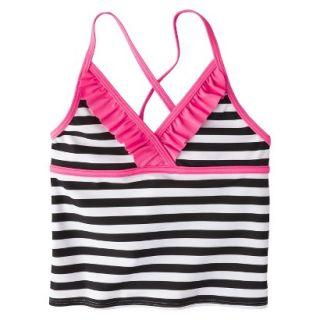 Girls Striped Halter Tankini Swim Top   Black/White XS