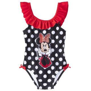 Disney Minnie Mouse Toddler Girls 1 Piece Swimsuit   Black 3T