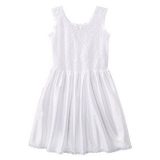Girls Lace Nylon Full Slip   White 16