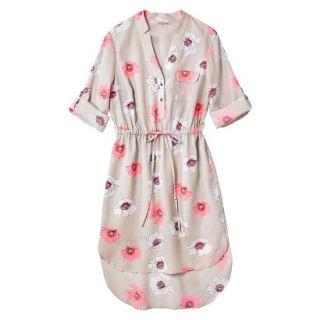 Merona Womens Drawstring Shirt Dress   Pink Floral   S