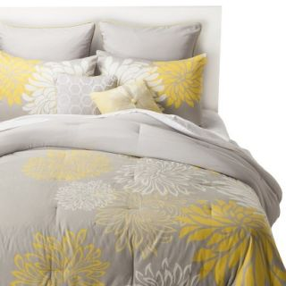 Anya 8 Piece Floral Print Bedding Set   Gray/Yellow (California King)