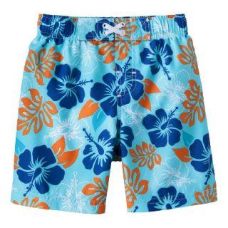 Circo Infant Toddler Boys Hawaiian Flower Swim Trunk   Pastel Blue 9 M
