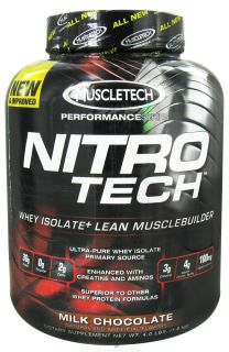 Muscletech Products   Nitro Tech Performance Series Whey Isolate Chocolate   4 lbs.