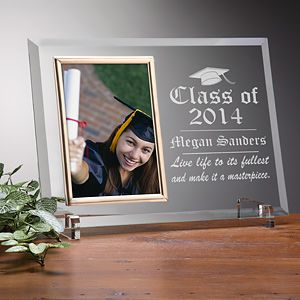 Engraved Glass Photo Frame   Graduation Edition