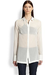 Helmut Lang Veil Sheer Cotton Shirt   Optic White