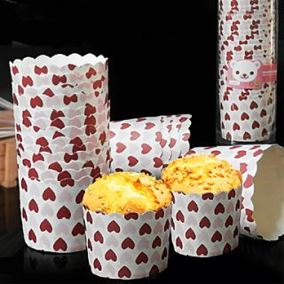 Love Heart Pattern Paper Baking Cake Cup (Set Of 20)