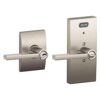 Schlage Century Collection Latitude Satin Nickel Keyed Entry Lever with Built In Alarm FE51 LAT 619 CEN