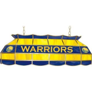 Trademark Global NBA Golden State Warriors NBA 3 Light Stained Glass Hanging Tiffany Lamp NBA4000 GSW