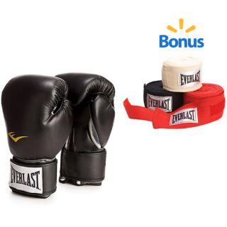 Everlast Pro Style Boxing Gloves, Black and 108 Handwraps Value Bundle