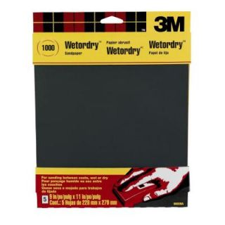 3M 9 in. x 11 in. 1000 Grit Ultra Fine Silicon Carbide Sand paper (5 Sheets Pack) 9083NA 20