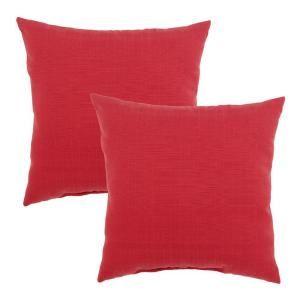 Hampton Bay Geranium Textured Outdoor Throw Pillow (2 Pack) 7050 02220600