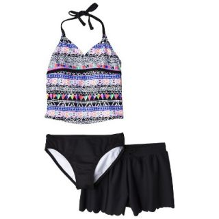 Girls 3 Piece Halter Tankini and Short Swimsuit Set   Black/Purple XL