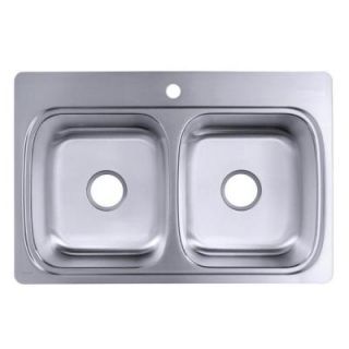 KOHLER Verse Self Rimming Stainless Steel 33x22x8.25 1 Hole Double Bowl Kitchen Sink K 3371 1 NA