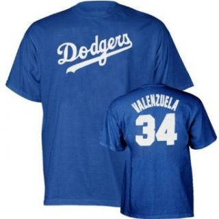 Fernando Valenzuela #34 Los Angeles Dodgers Cooperstown Blue Name and Number T Shirt  Clothing