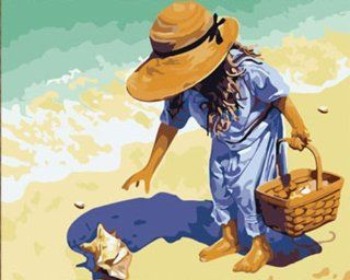 """AutoLive Paint By Numbers Kits Masterpieces, Paint By Numbers Kits, 16""""x20"""", Picking Up Seashell On the Beach"""
