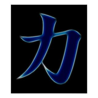Strength Japanese Kanji Symbol Posters