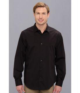 Perry Ellis Long Sleeve Twill Non Iron Shirt Mens Long Sleeve Button Up (Black)