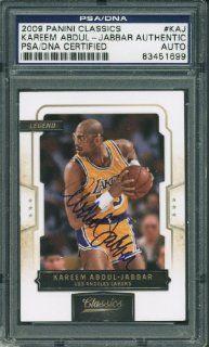LAKERS KAREEM ABDUL JABBAR AUTHENTIC SIGNED CARD 2009 PANINI #KAJ PSA/DNA SLABBED: Sports Collectibles