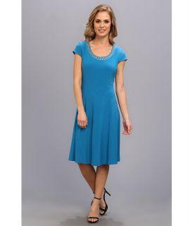 Anne Klein Jersey Embellished Neck Asymmetric Dress Womens Dress (Blue)