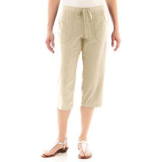 St. Johns Bay Linen Capris   Petite, Khaki, Womens
