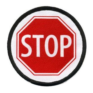 SERVICE DOG Red STOP SIGN Symbol 4 inch Black Rim Round Sew on Patch: Everything Else