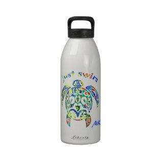 Colorful Rainbow Tortoise Sea Turtle Just Swim Water Bottle