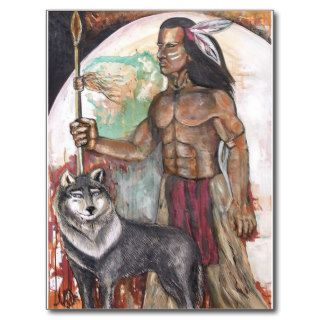 Native American Indian & Wolf Postcards