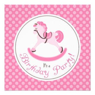 Pink Rocking Horse Birthday Personalized Announcement