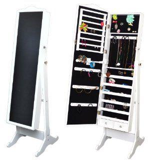 Schmuckschrank mit großem XXL Spiegel Schmuckkommode Standspiegel Schmuckvitrine in Weiß weiss 154 cm Höhe Küche & Haushalt