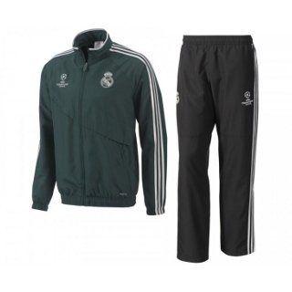 Adidas Kinder Trainingsanzug REAL MADRID CF Schwarz/Grün   164 cm: Sport & Freizeit