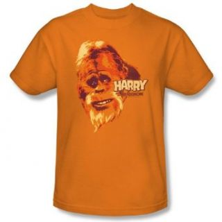 Harry and the Hendersons Bigfoot BIG GUY Short Sleeve Adult Tee ORANGE T Shirt: Movie And Tv Fan T Shirts: Clothing