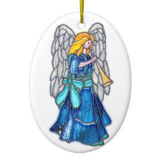Ángel con el vitral de la trompeta ornamento de reyes magos de