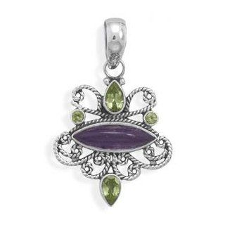 73872 Multistone Ornate Pendant Pendant and Slides Face Head Girl Woman Lady Metal Sterling Siliver 0.925