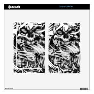 Evil skull tattoo style art. Sin and smoke skulls. Kindle Fire Skin