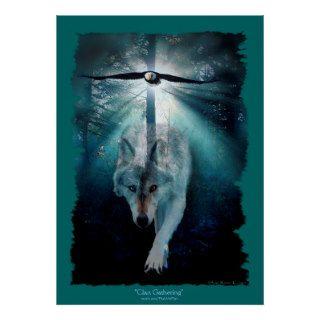 Wolf & Eagle Clan Gathering Wildlife Art Poster