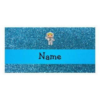 Personalized name astronaut sky blue glitter photo cards